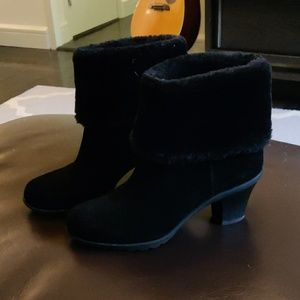Black suede booties with faux fur tops